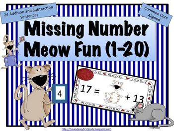 Missing Number Meow Fun (1-20) (Common Core Aligned)