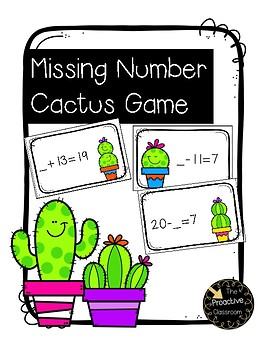 Missing Number (Missing Addend) Cactus Game