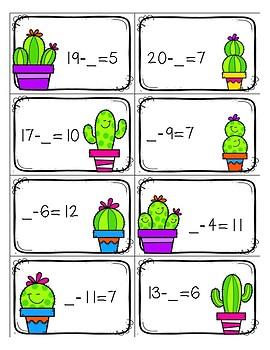 Missing Number (Missing Addend) Cactus Game