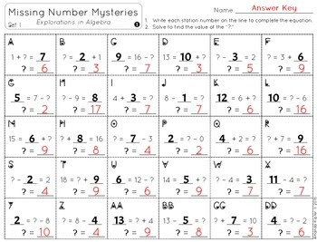 Missing Number Mysteries: Explorations in Algebra: ADDITION & SUBTRACTION BUNDLE