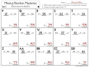 Missing Number Mysteries: Explorations in Algebra: COMPLETE BUNDLE