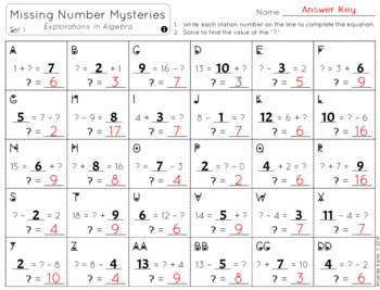 Missing Number Mysteries: Explorations in Algebra Level 1: Add & Subtract to 20