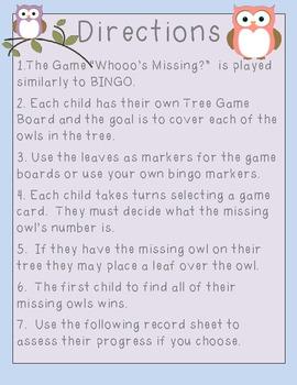 Missing Number Owls (MClass Assessment)