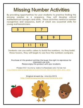 Missing Number Primary Grades