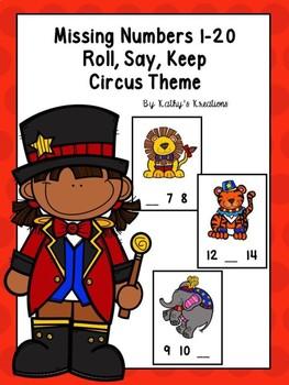 Missing Number Roll, Say, Keep Circus FREEBIE