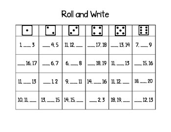 Missing Number Roll and Write