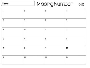 Missing Number Scoot Math Activity Kindergarten First