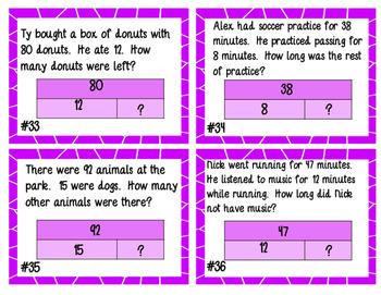 Missing Number Story Problem Task Cards