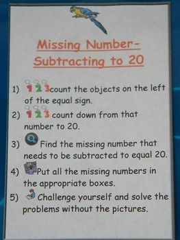 Missing Number Subtract to 20-Math Center-File folder game