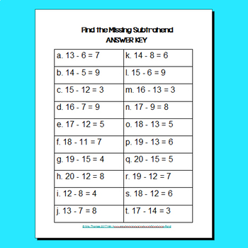 Missing Number Subtraction Task Cards:  Numbers to 20 Missing Subtrahends