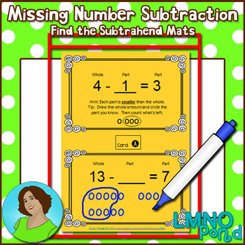 Missing Number Subtraction Task Cards:  Numbers to 20 Miss