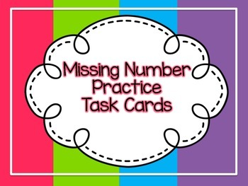 Missing Number Task Card FREEEEBIE! with QR code!