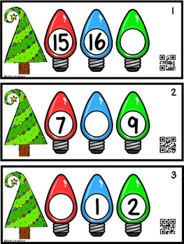 Missing Number Task Cards 0-20 Christmas Lights (QR Code Ready)