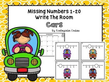 Missing Number Task Cards 1-20 (Cars) Write The Room