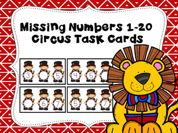 Missing Number Task Cards 1-20 Circus