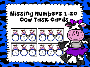 Free Missing Number Task Cards 1-20 Cow