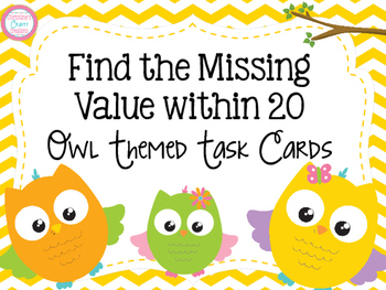 Missing Number- Owl Themed Task Cards