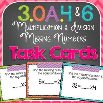 Missing Number Task Cards {3.OA.4 & 3.OA.6}