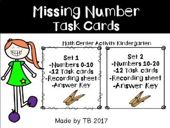 Missing Number Task Cards KG
