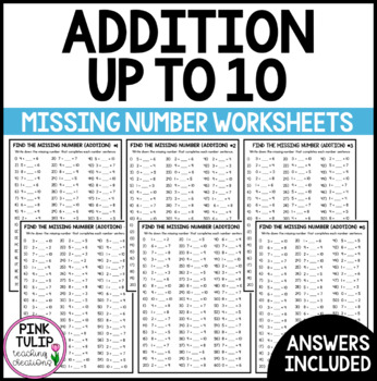 Missing Number Up to 10 Addition Worksheets - Mental Maths or Early Finisher