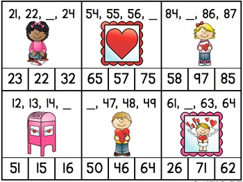 Valentine's Missing Numbers: Two-Digit Numbers