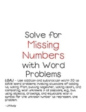 Missing Number Word Problems
