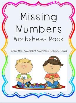 Missing Number Worksheet Pack