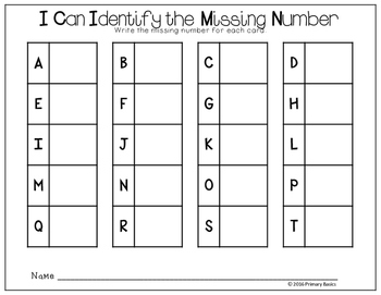 Missing Number Write the Room Centers