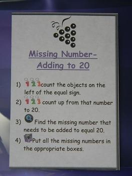 Missing Number addition sentence to 20- math center- file folder game