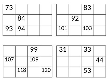 Missing Number chunks of a 120 chart