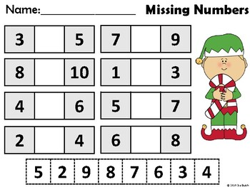 Missing Numbers 0-10 / Before and After (Christmas Edition)