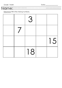 Missing Numbers 0-20