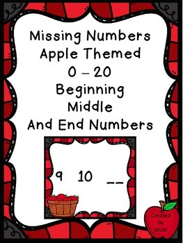 Missing Numbers 0 - 20 Apple Themed