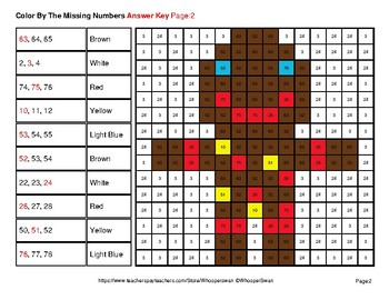 Missing Numbers 1-100 - Christmas Color By Number - Math Mystery Pictures