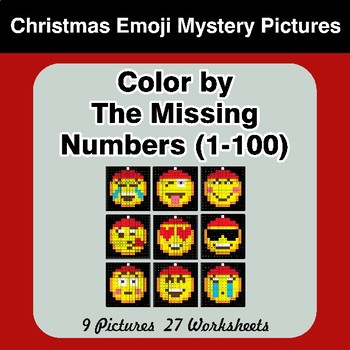 Missing Numbers 1-100 - Christmas Emoji Color By Number - Math Mystery Pictures