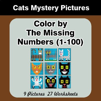 Missing Numbers 1-100 - Color By Number - Cats Math Mystery Pictures