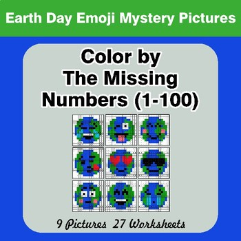 Missing Numbers 1-100 - Color By Number - Earth Day Emoji Mystery Pictures