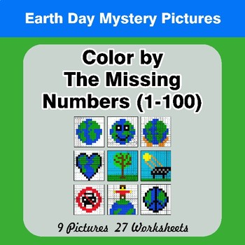 Missing Numbers 1-100 - Color By Number - Earth Day Math Mystery Pictures