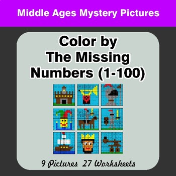 Missing Numbers 1-100 - Color By Number - Middle Ages Math Mystery Pictures