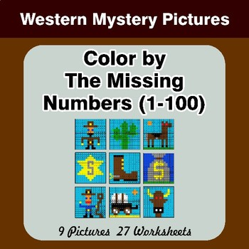Missing Numbers 1-100 - Color By Number - Western Math Mystery Pictures