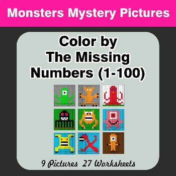 Missing Numbers 1-100 - Monsters Color By Number - Math Mystery Pictures