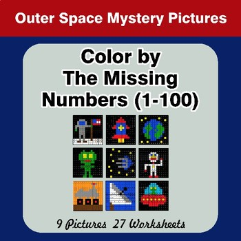 Missing Numbers 1-100 - Outer Space Color By Number - Math Mystery Pictures