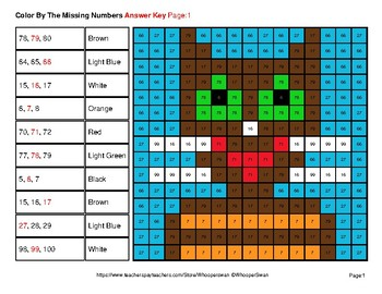Missing Numbers 1-100 - Pets Color By Number - Math Mystery Pictures