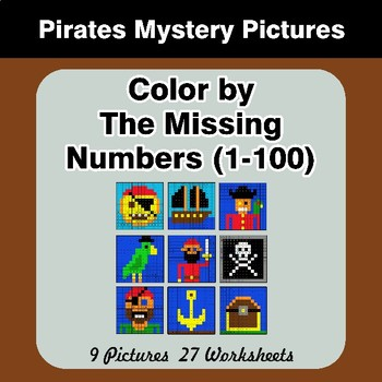 Missing Numbers 1-100 - Pirates Color By Number - Math Mystery Pictures