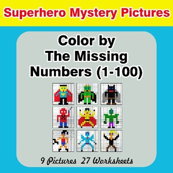 Missing Numbers 1-100 - Superhero Color By Number - Math Mystery Pictures
