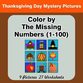 Missing Numbers 1-100 - Thanksgiving Color By Number - Math Mystery Pictures