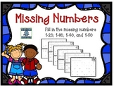 Missing Numbers 1-20, 1-30, 1-40, and 1-50