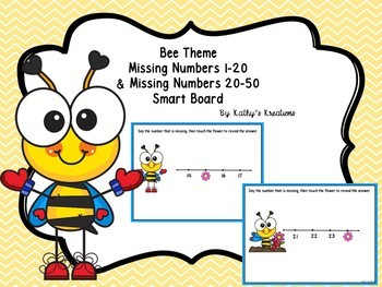 Missing Numbers 1-20 & 20-50 Smart Board Bee Theme