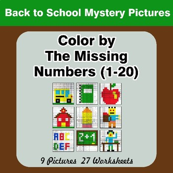 Missing Numbers 1-20 - Back To School Color By Number - Math Mystery Pictures