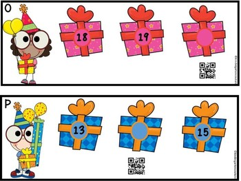 Missing Numbers 1-20 Birthday Theme QR Code Ready